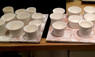 Greenware ready for the kiln